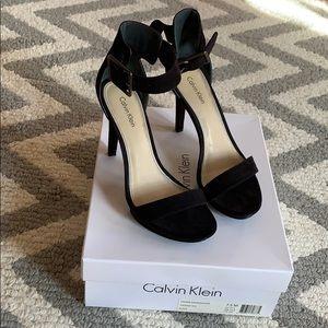 Black Calvin Klein ankle strap heels, size 7.5